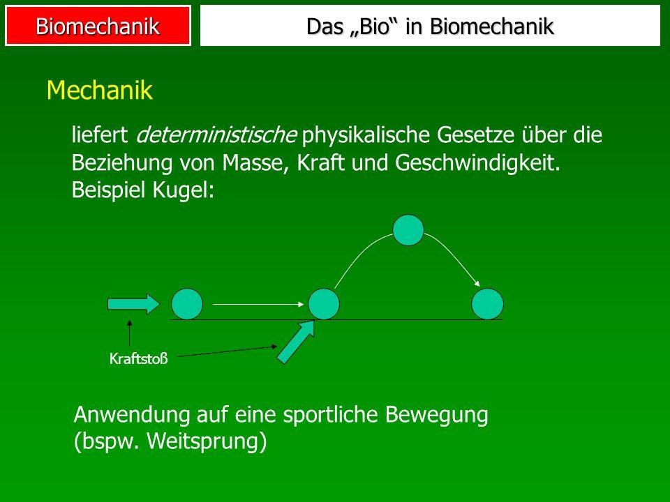 Biomechanik Mechanik liefert deterministische physikalische Gesetze über die Beziehung von Masse, Kraft und Geschwindigkeit. Beispiel Kugel: Das Bio i