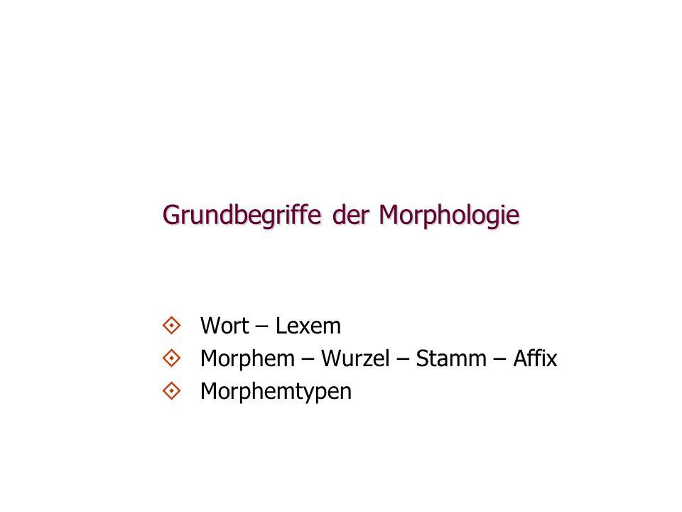 Grundbegriffe der Morphologie Wort – Lexem Morphem – Wurzel – Stamm – Affix Morphemtypen