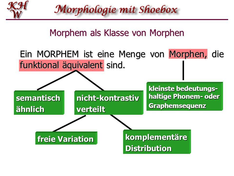 komplementäreDistribution Morphem als Klasse von Morphen Ein MORPHEM ist eine Menge von Morphen, die funktional äquivalent sind. semantischähnlichnich