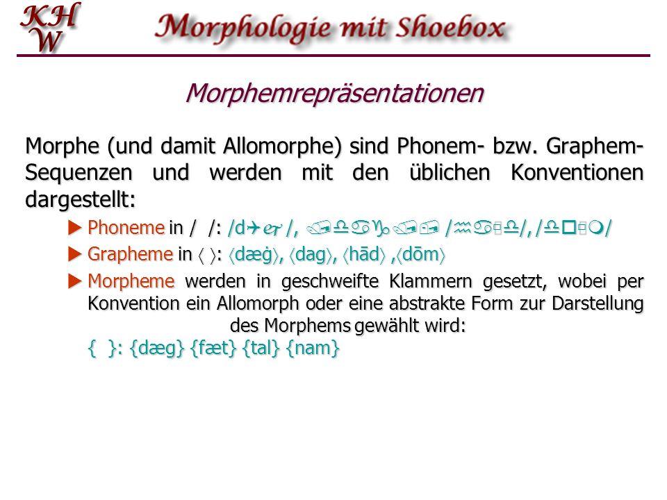 Morphemrepräsentationen Morphe (und damit Allomorphe) sind Phonem- bzw. Graphem- Sequenzen und werden mit den üblichen Konventionen dargestellt: Phone