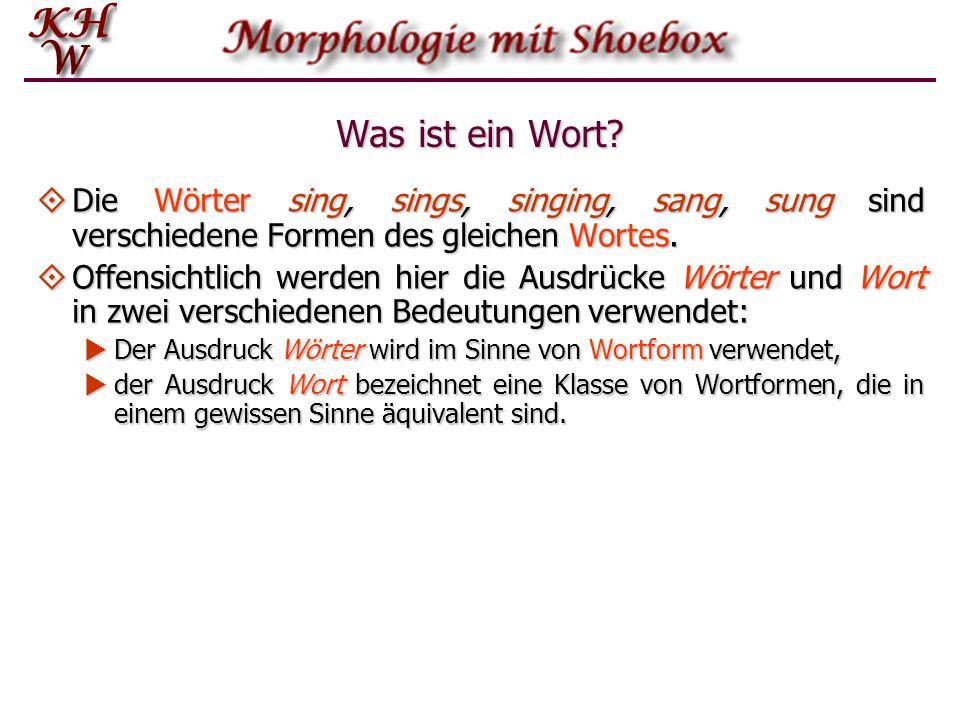 Was ist ein Wort? Die Wörter sing, sings, singing, sang, sung sind verschiedene Formen des gleichen Wortes. Die Wörter sing, sings, singing, sang, sun
