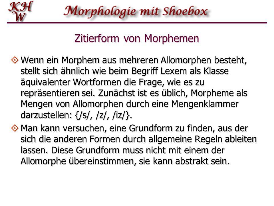 Zitierform von Morphemen Wenn ein Morphem aus mehreren Allomorphen besteht, stellt sich ähnlich wie beim Begriff Lexem als Klasse äquivalenter Wortfor