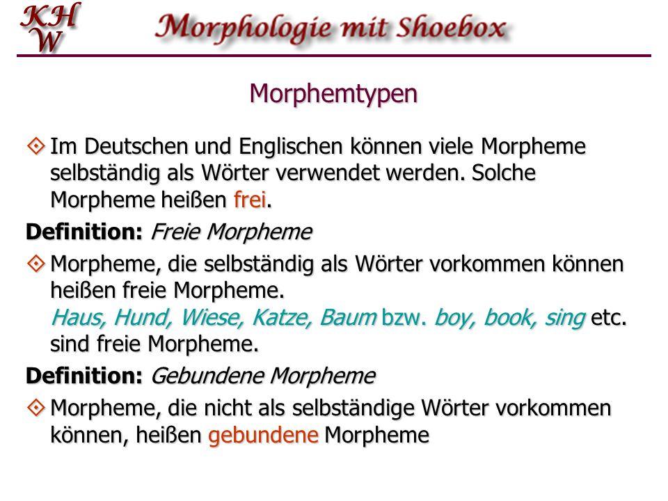 Morphemtypen Im Deutschen und Englischen können viele Morpheme selbständig als Wörter verwendet werden. Solche Morpheme heißen frei. Im Deutschen und