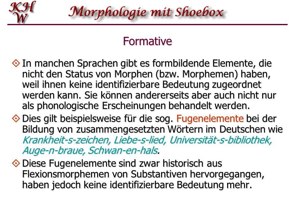 Formative In manchen Sprachen gibt es formbildende Elemente, die nicht den Status von Morphen (bzw. Morphemen) haben, weil ihnen keine identifizierbar
