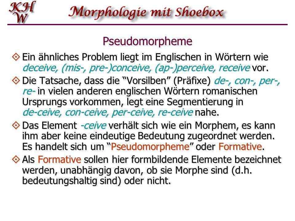 Pseudomorpheme Ein ähnliches Problem liegt im Englischen in Wörtern wie deceive, (mis-, pre-)conceive, (ap )perceive, receive vor. Ein ähnliches Probl