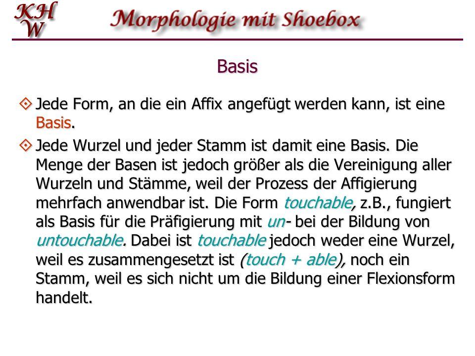 Basis Jede Form, an die ein Affix angefügt werden kann, ist eine Basis. Jede Form, an die ein Affix angefügt werden kann, ist eine Basis. Jede Wurzel