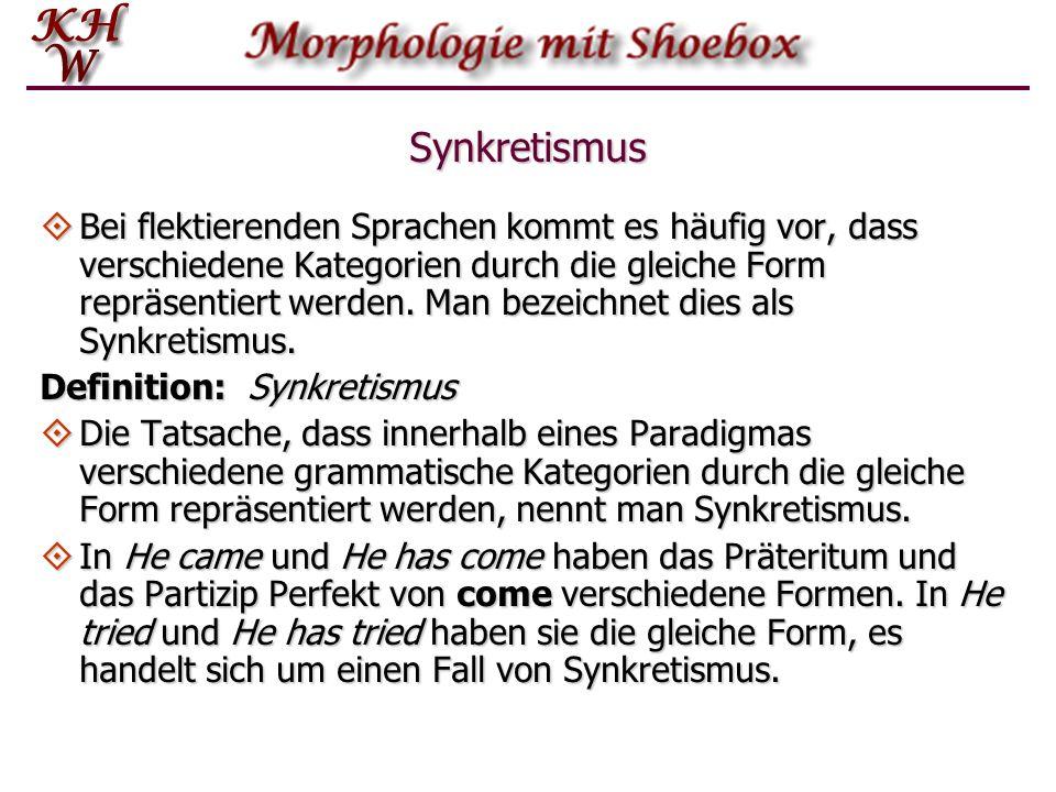 Synkretismus Bei flektierenden Sprachen kommt es häufig vor, dass verschiedene Kategorien durch die gleiche Form repräsentiert werden. Man bezeichnet