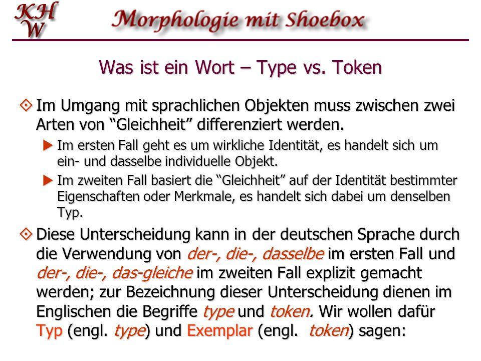 Was ist ein Wort – Type vs. Token Im Umgang mit sprachlichen Objekten muss zwischen zwei Arten von Gleichheit differenziert werden. Im Umgang mit spra
