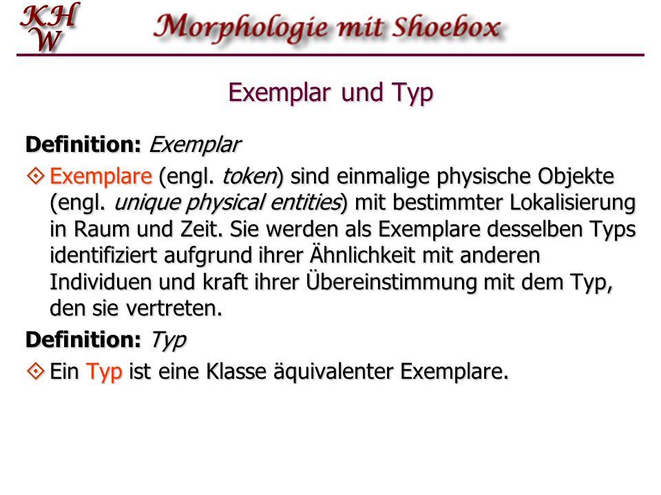 Exemplar und Typ Definition: Exemplar Exemplare (engl. token) sind einmalige physische Objekte (engl. unique physical entities) mit bestimmter Lokalis