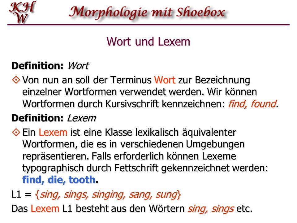 Wort und Lexem Definition: Wort Von nun an soll der Terminus Wort zur Bezeichnung einzelner Wortformen verwendet werden. Wir können Wortformen durch K