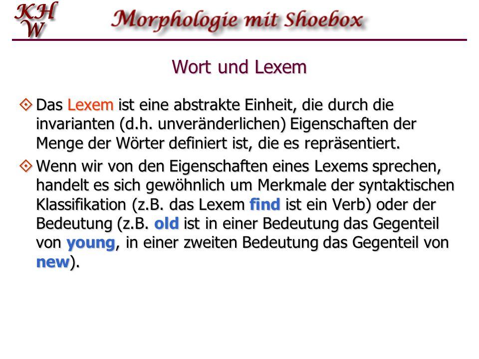 Wort und Lexem Das Lexem ist eine abstrakte Einheit, die durch die invarianten (d.h. unveränderlichen) Eigenschaften der Menge der Wörter definiert is
