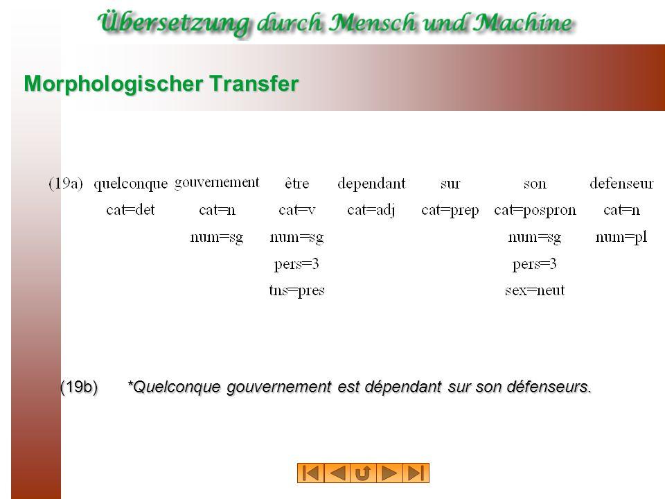 Morphologischer Transfer (19b) *Quelconque gouvernement est dépendant sur son défenseurs.