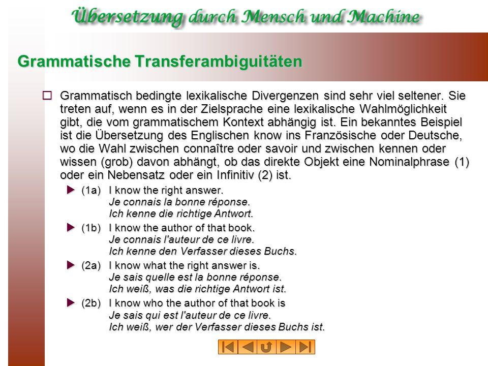 Konzeptuelle Transferambiguitäten (4a) English wallGermanWand (inside a building) Mauer (outside) (4b) English riverFrenchrivière (general term) fleuve (major river, flowing into sea) (4c) English legSpanishpierna (human) pata (animal, table) pie (chair) etapa (of a journey) Frenchjambe (human) patte (animal, insect) pied (table, chair) étape (journey) (4e) French louerEnglishhire or rent (4f) French colombe German TaubeEnglishpigeon or dove German TaubeEnglishpigeon or dove (4g) German leihenEnglishborrow or lend