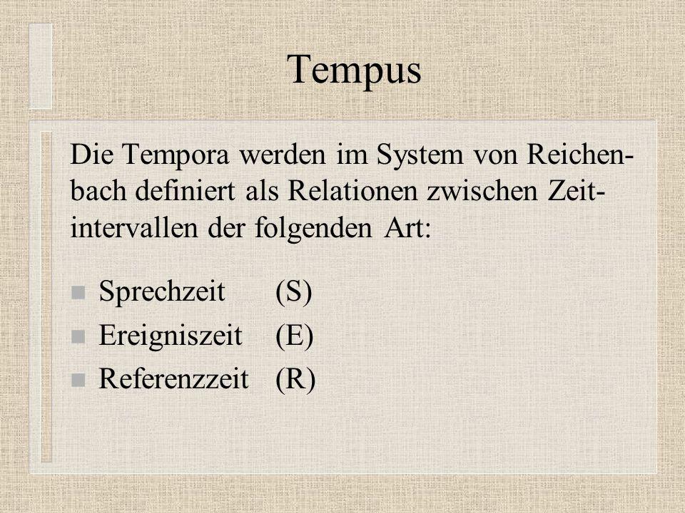 Tempus Die Tempora werden im System von Reichen- bach definiert als Relationen zwischen Zeit- intervallen der folgenden Art: n Sprechzeit (S) n Ereigniszeit (E) n Referenzzeit (R)