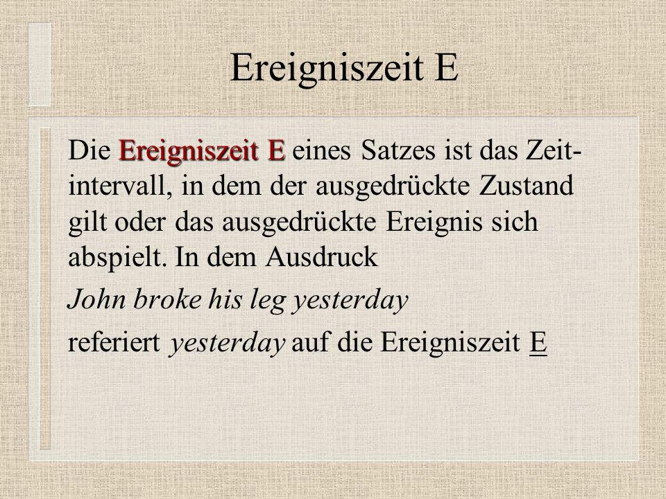 Ereigniszeit E Ereigniszeit E Die Ereigniszeit E eines Satzes ist das Zeit- intervall, in dem der ausgedrückte Zustand gilt oder das ausgedrückte Ereignis sich abspielt.