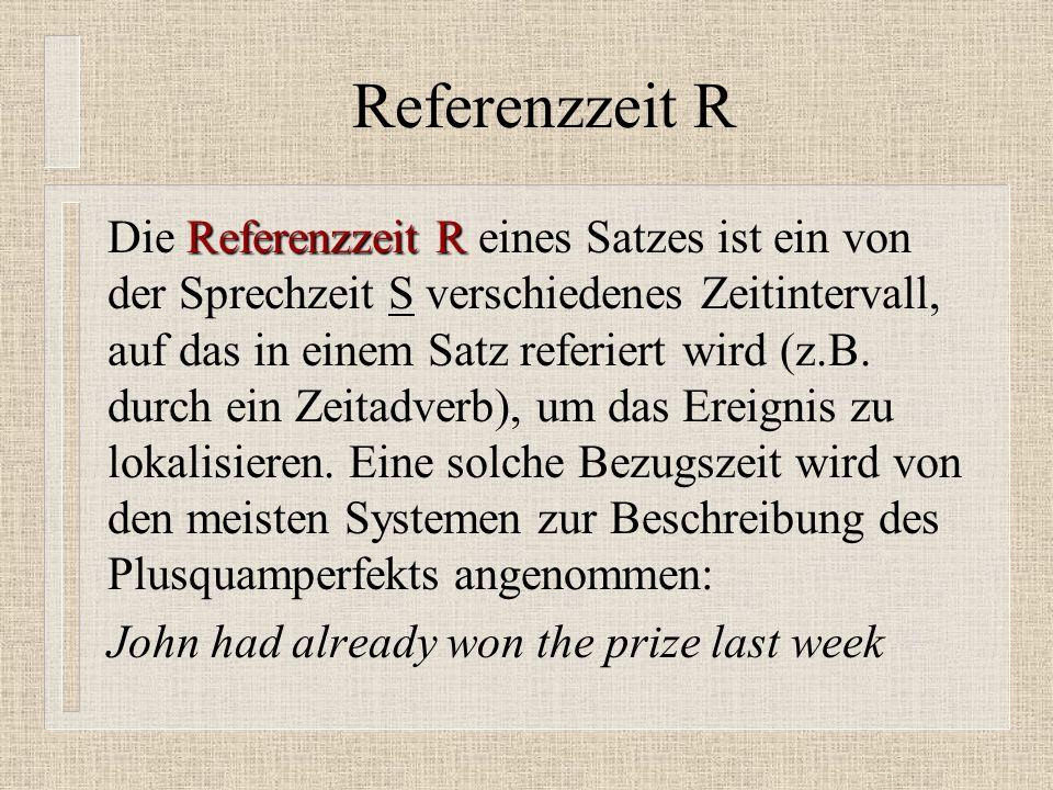 Referenzzeit R Referenzzeit R Die Referenzzeit R eines Satzes ist ein von der Sprechzeit S verschiedenes Zeitintervall, auf das in einem Satz referiert wird (z.B.