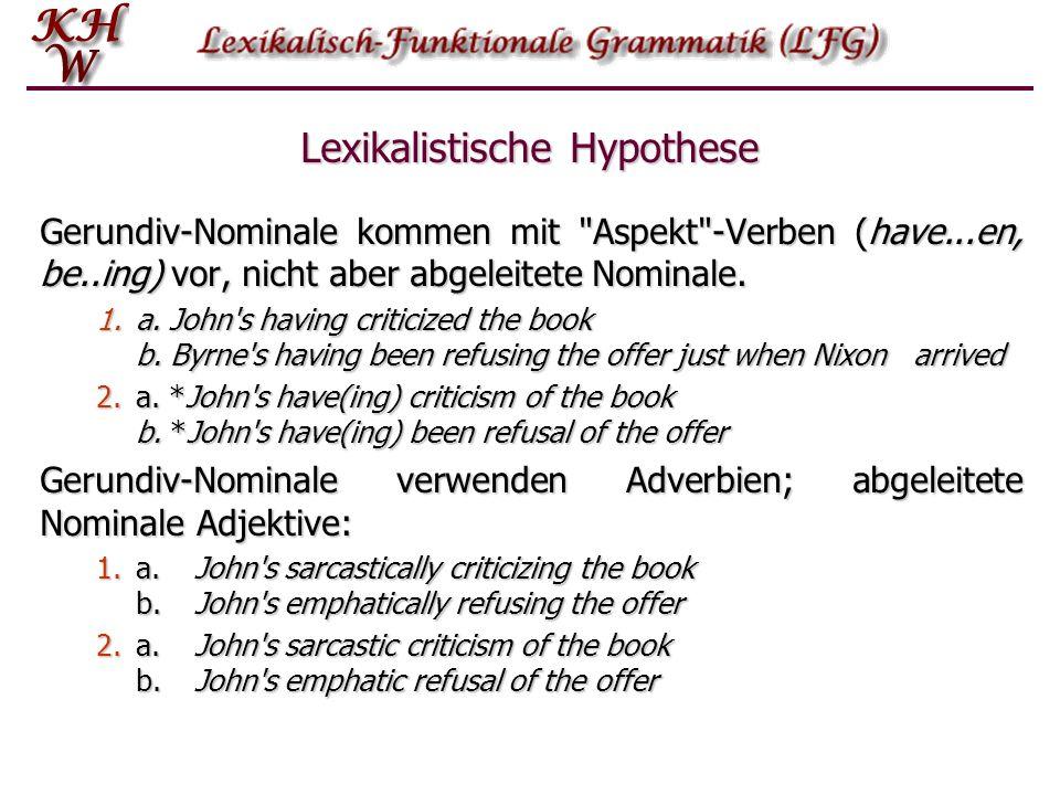 Lexikalistische Hypothese Gerundiv-Nominale kommen mit Aspekt -Verben (have...en, be..ing) vor, nicht aber abgeleitete Nominale.