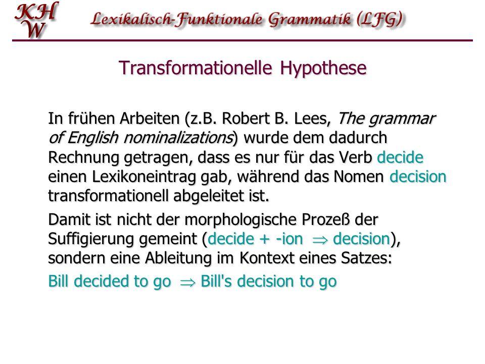 Transformationelle Hypothese In frühen Arbeiten (z.B.