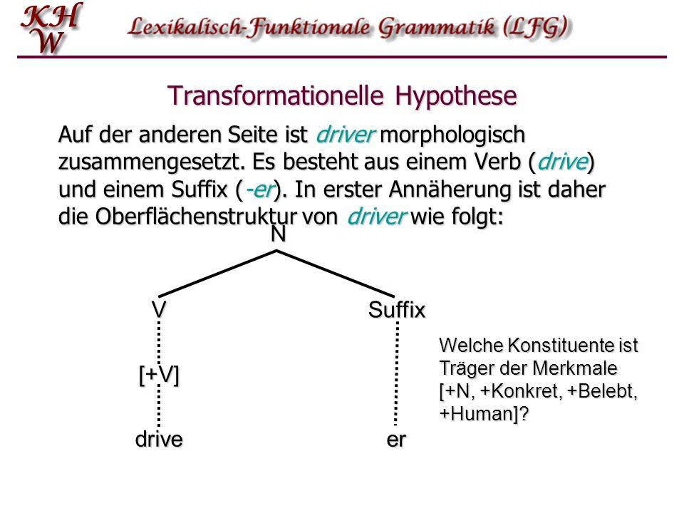Transformationelle Hypothese Auf der anderen Seite ist driver morphologisch zusammengesetzt.