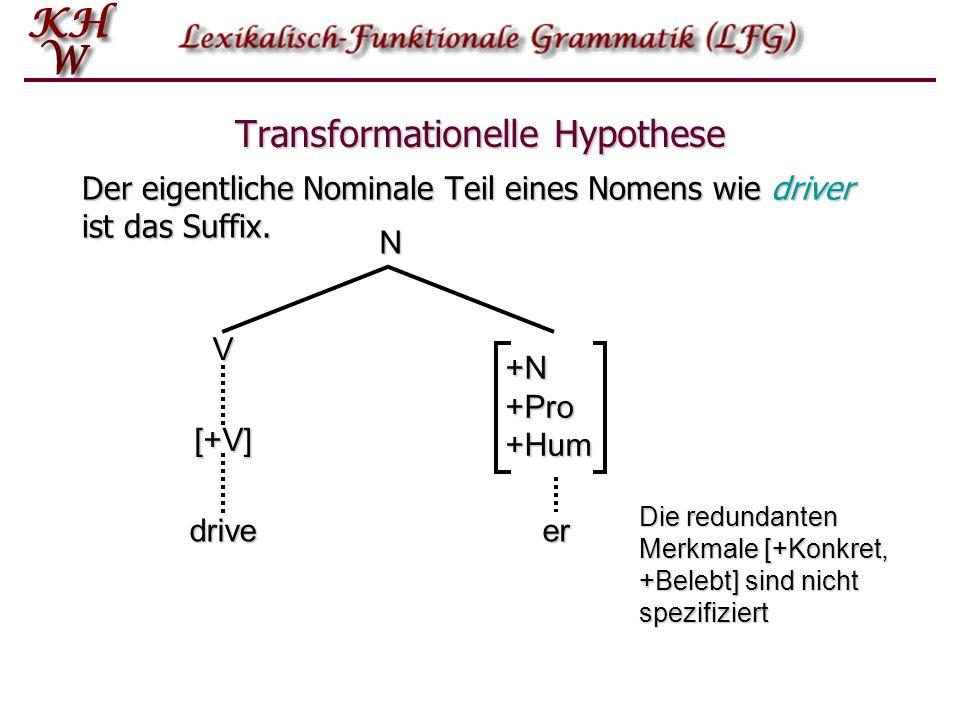 Transformationelle Hypothese Der eigentliche Nominale Teil eines Nomens wie driver ist das Suffix.