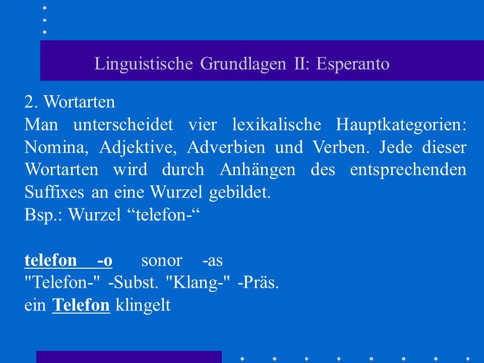 Linguistische Grundlagen II: Esperanto 2. Wortarten Man unterscheidet vier lexikalische Hauptkategorien: Nomina, Adjektive, Adverbien und Verben. Jede