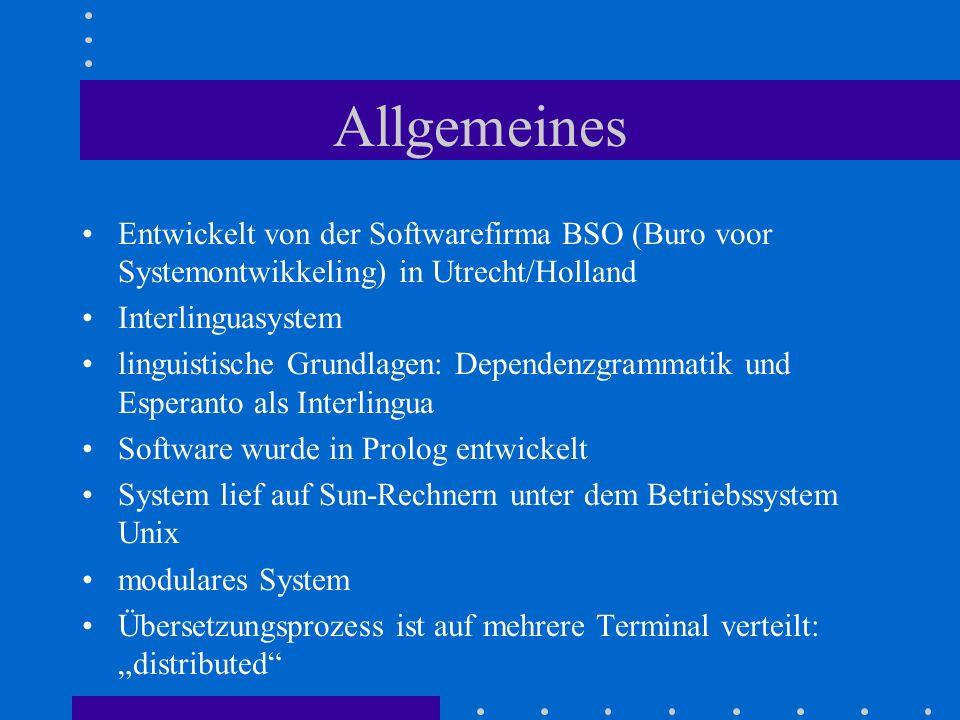 Allgemeines Entwickelt von der Softwarefirma BSO (Buro voor Systemontwikkeling) in Utrecht/Holland Interlinguasystem linguistische Grundlagen: Depende