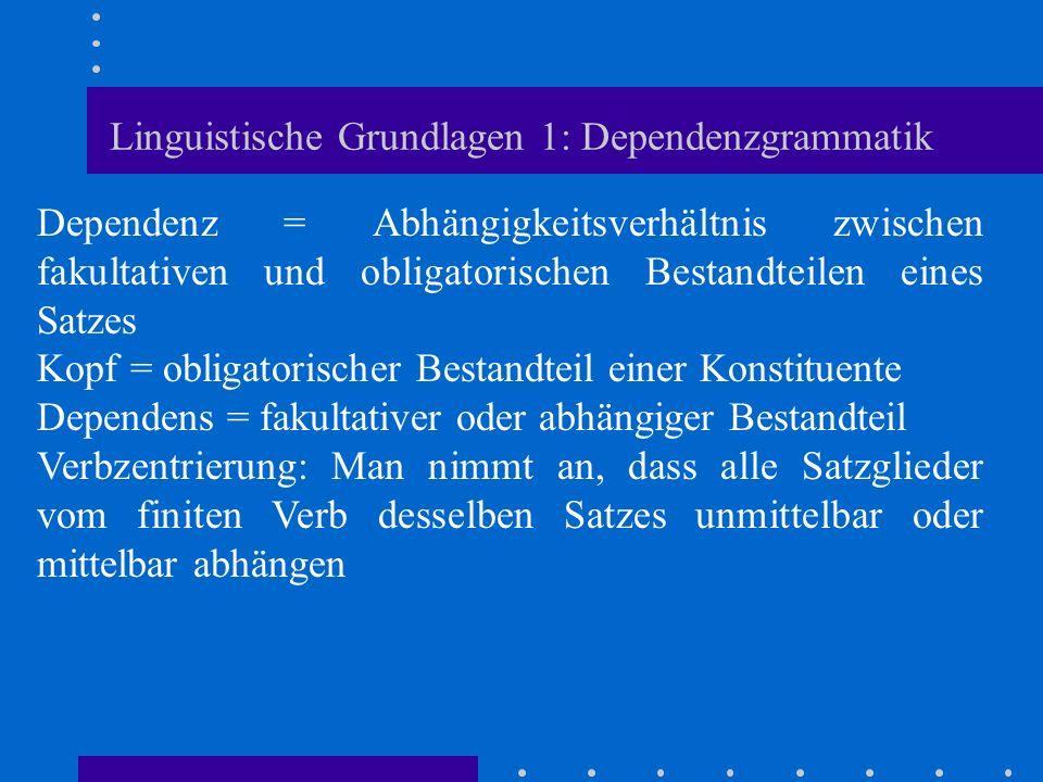 Linguistische Grundlagen 1: Dependenzgrammatik Dependenz = Abhängigkeitsverhältnis zwischen fakultativen und obligatorischen Bestandteilen eines Satze