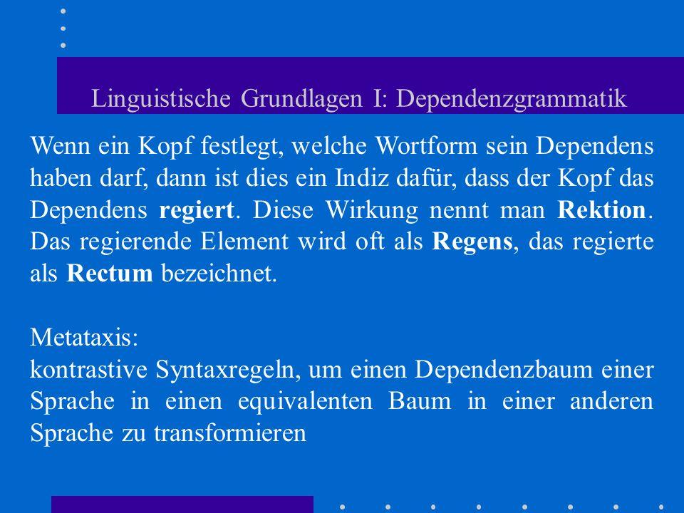 Linguistische Grundlagen I: Dependenzgrammatik Wenn ein Kopf festlegt, welche Wortform sein Dependens haben darf, dann ist dies ein Indiz dafür, dass