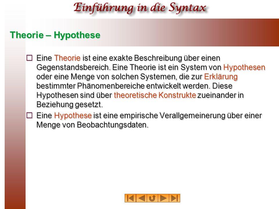 Theorie – Hypothese Eine Theorie ist eine exakte Beschreibung über einen Gegenstandsbereich. Eine Theorie ist ein System von Hypothesen oder eine Meng