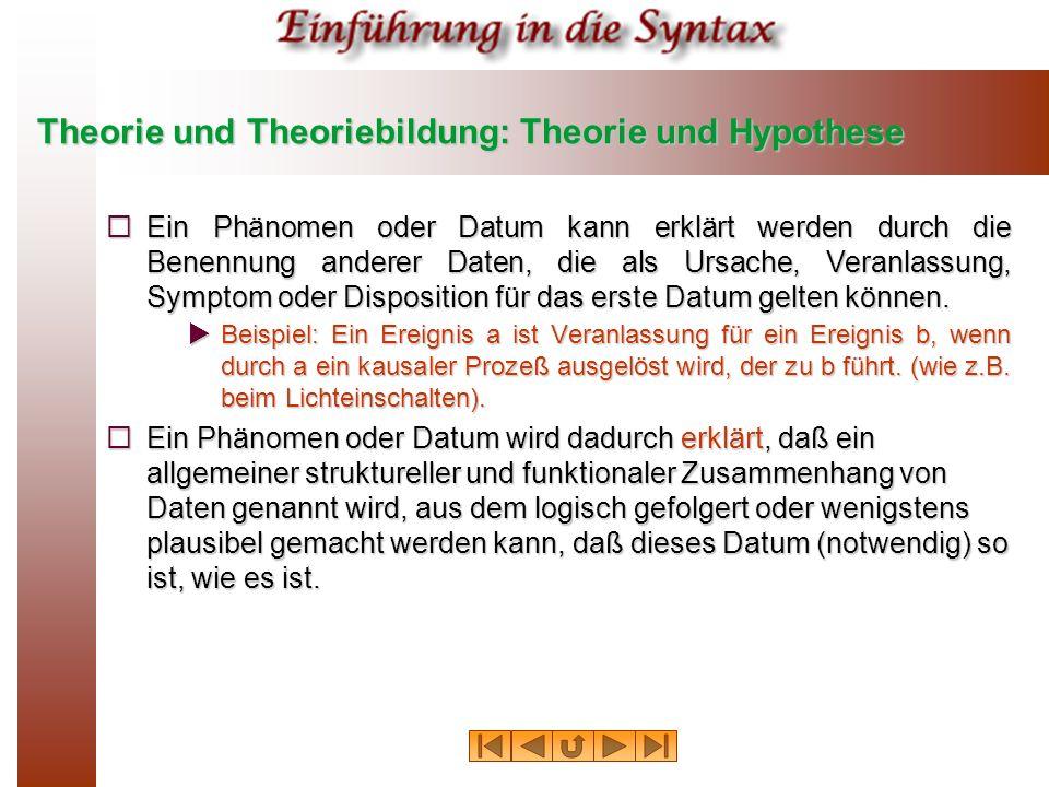 Theorie und Theoriebildung: Theorie und Hypothese Ein Phänomen oder Datum kann erklärt werden durch die Benennung anderer Daten, die als Ursache, Vera