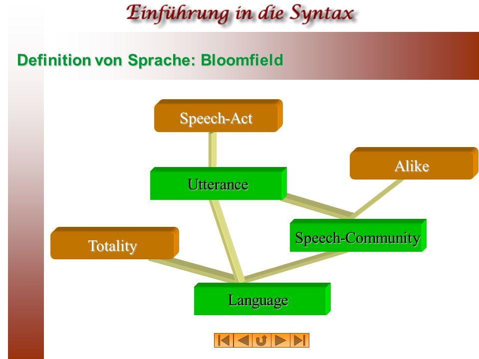 Definition von Sprache: Bloomfield Speech-Act Speech-Community Utterance Language Alike Totality