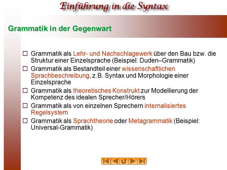 Grammatik in der Gegenwart Grammatik als Lehr- und Nachschlagewerk über den Bau bzw. die Struktur einer Einzelsprache (Beispiel: Duden–Grammatik) Gram