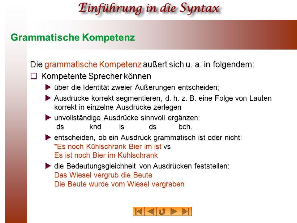 Grammatische Kompetenz Die grammatische Kompetenz äußert sich u. a. in folgendem: Kompetente Sprecher können Kompetente Sprecher können über die Ident