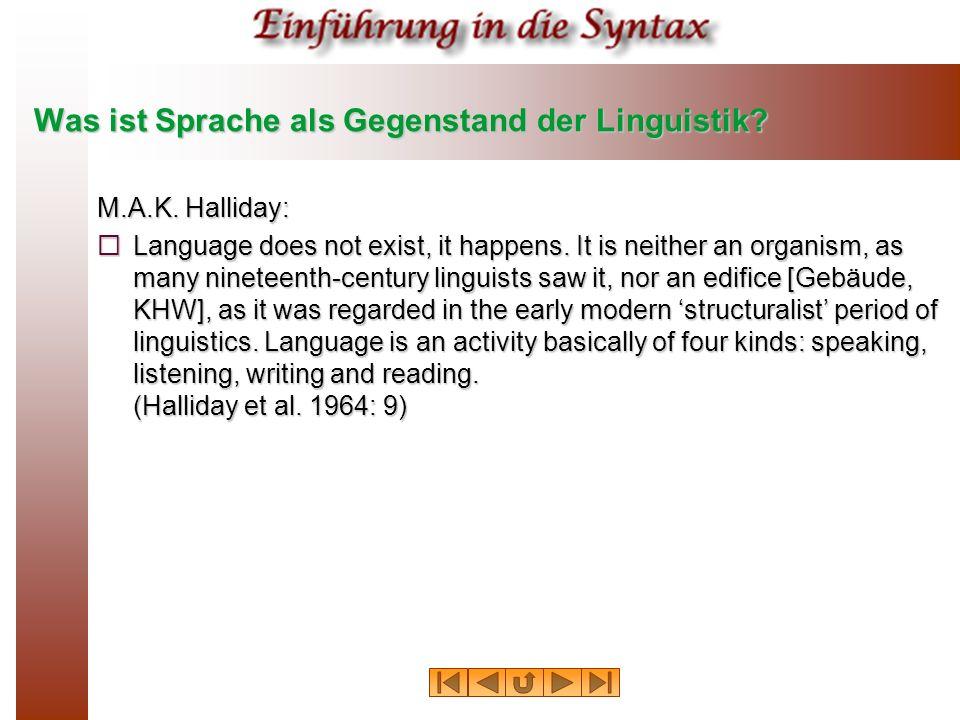 Was ist Sprache als Gegenstand der Linguistik.M.A.K.