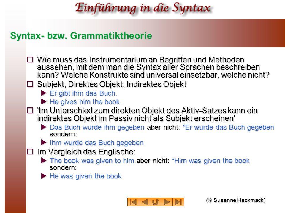 Syntax- bzw. Grammatiktheorie Wie muss das Instrumentarium an Begriffen und Methoden aussehen, mit dem man die Syntax aller Sprachen beschreiben kann?