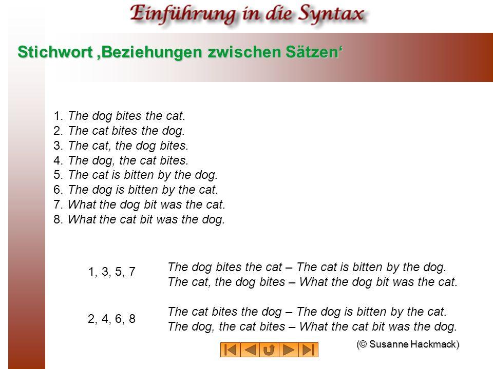 Stichwort Beziehungen zwischen Sätzen 1. The dog bites the cat. 2. The cat bites the dog. 3. The cat, the dog bites. 4. The dog, the cat bites. 5. The