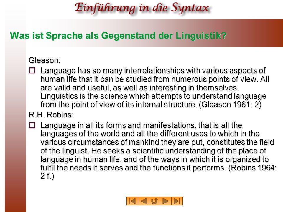 E-Sprache und I-Sprache Eine E Sprache ist eine Sammlung von Sätzen, aufgefaßt als Objekte, die unabhängig von mentalen Eigenschaften von Sprechern existieren.
