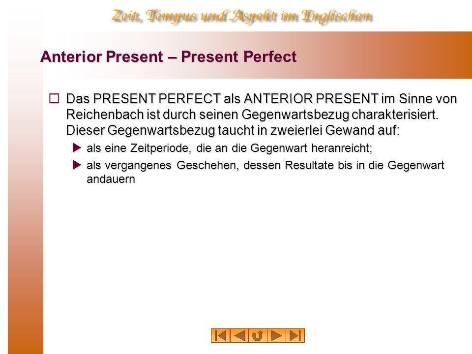 Anterior Present – Present Perfect Das PRESENT PERFECT als ANTERIOR PRESENT im Sinne von Reichenbach ist durch seinen Gegenwartsbezug charakterisiert.