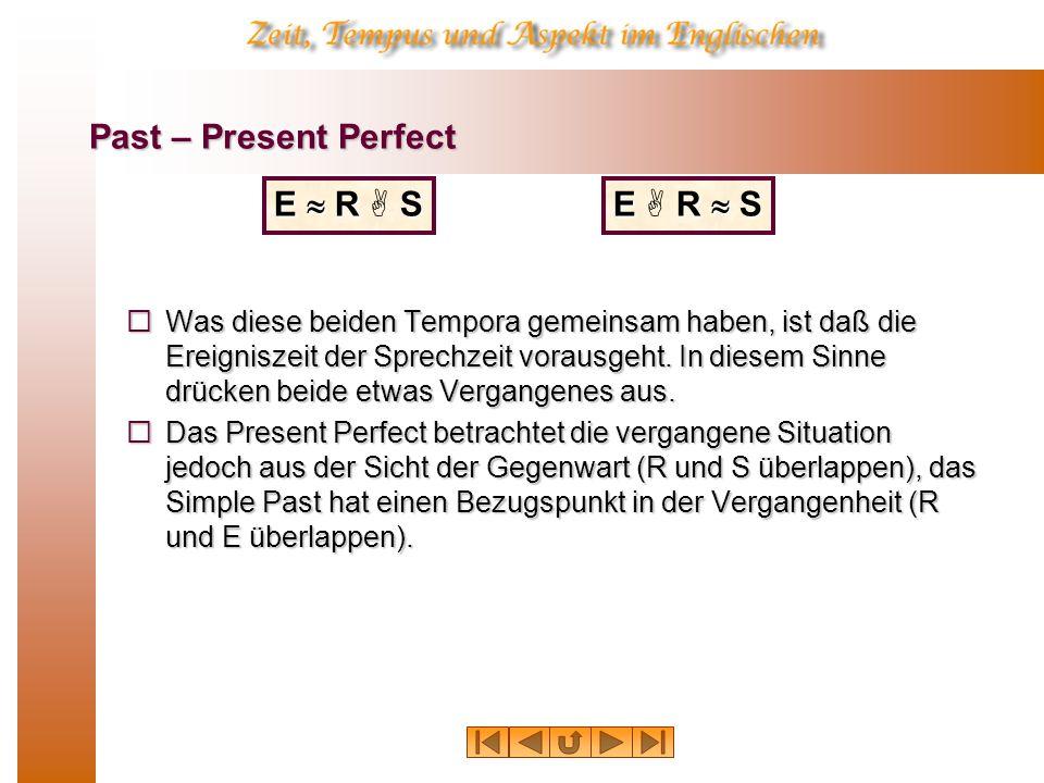 Past – Present Perfect Was diese beiden Tempora gemeinsam haben, ist daß die Ereigniszeit der Sprechzeit vorausgeht.