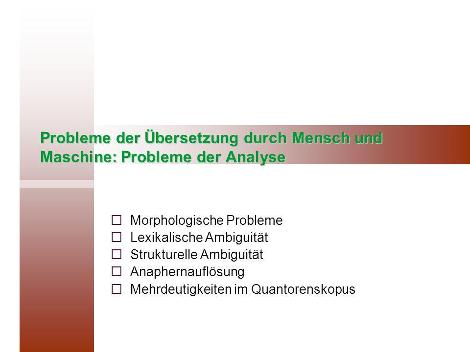 Probleme der Übersetzung durch Mensch und Maschine: Probleme der Analyse Morphologische Probleme Lexikalische Ambiguität Strukturelle Ambiguität Anaph