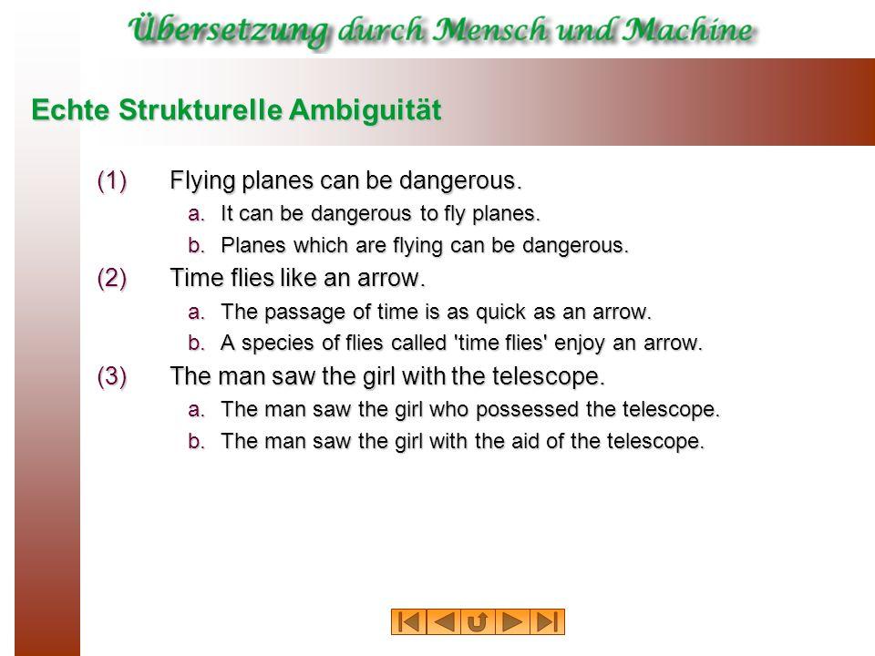Echte Strukturelle Ambiguität (1)Flying planes can be dangerous. a.It can be dangerous to fly planes. b.Planes which are flying can be dangerous. (2)T