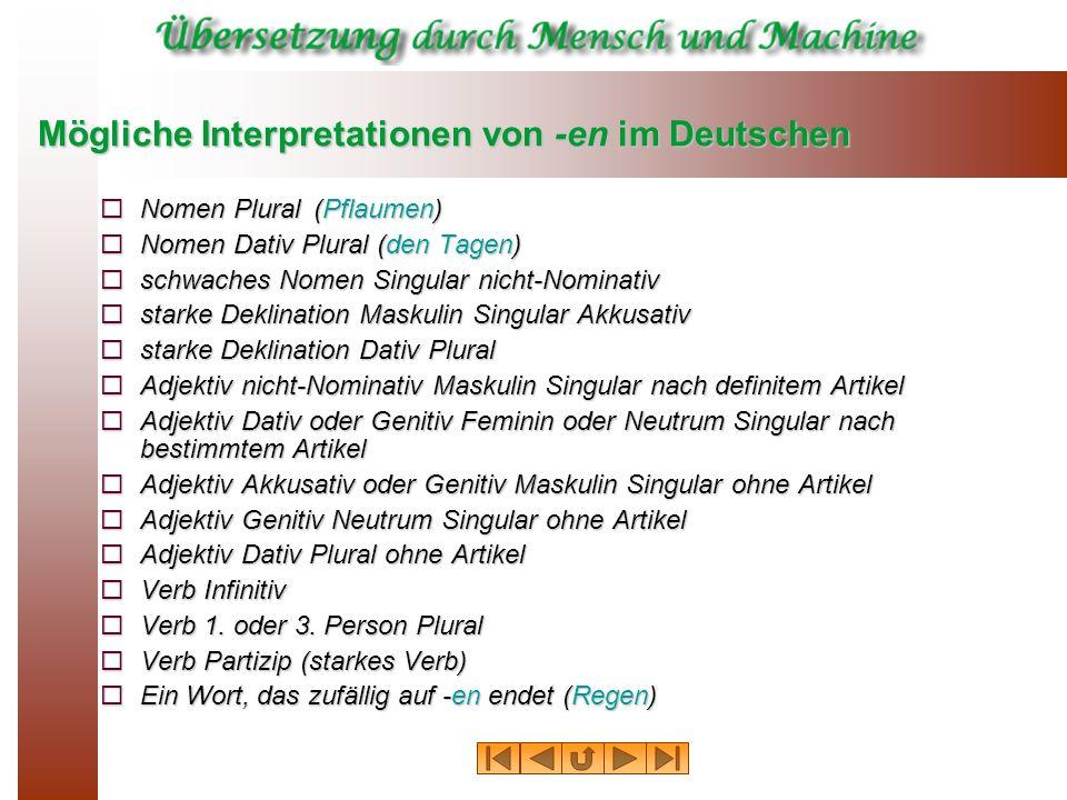 Mögliche Interpretationen von en im Deutschen Nomen Plural(Pflaumen) Nomen Plural(Pflaumen) Nomen Dativ Plural (den Tagen) Nomen Dativ Plural (den Tag