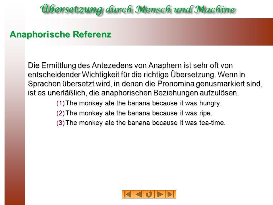 Anaphorische Referenz Die Ermittlung des Antezedens von Anaphern ist sehr oft von entscheidender Wichtigkeit für die richtige Übersetzung. Wenn in Spr
