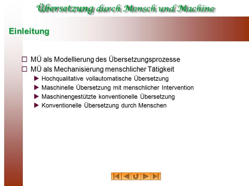 Einleitung MÜ als Modellierung des Übersetzungsprozesse MÜ als Modellierung des Übersetzungsprozesse MÜ als Mechanisierung menschlicher Tätigkeit MÜ a