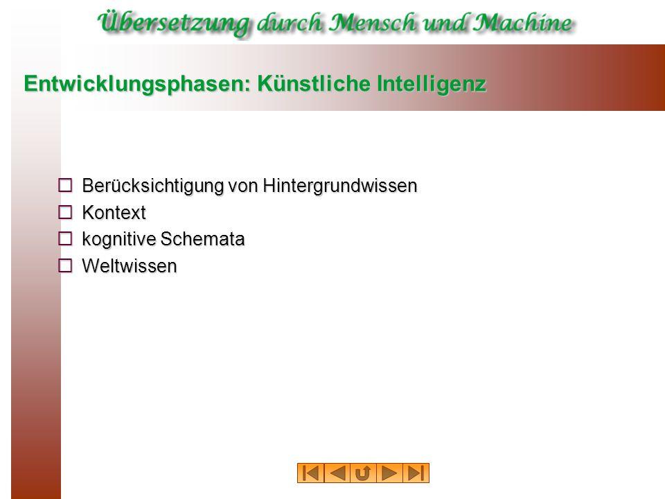 Entwicklungsphasen: Künstliche Intelligenz Berücksichtigung von Hintergrundwissen Berücksichtigung von Hintergrundwissen Kontext Kontext kognitive Sch
