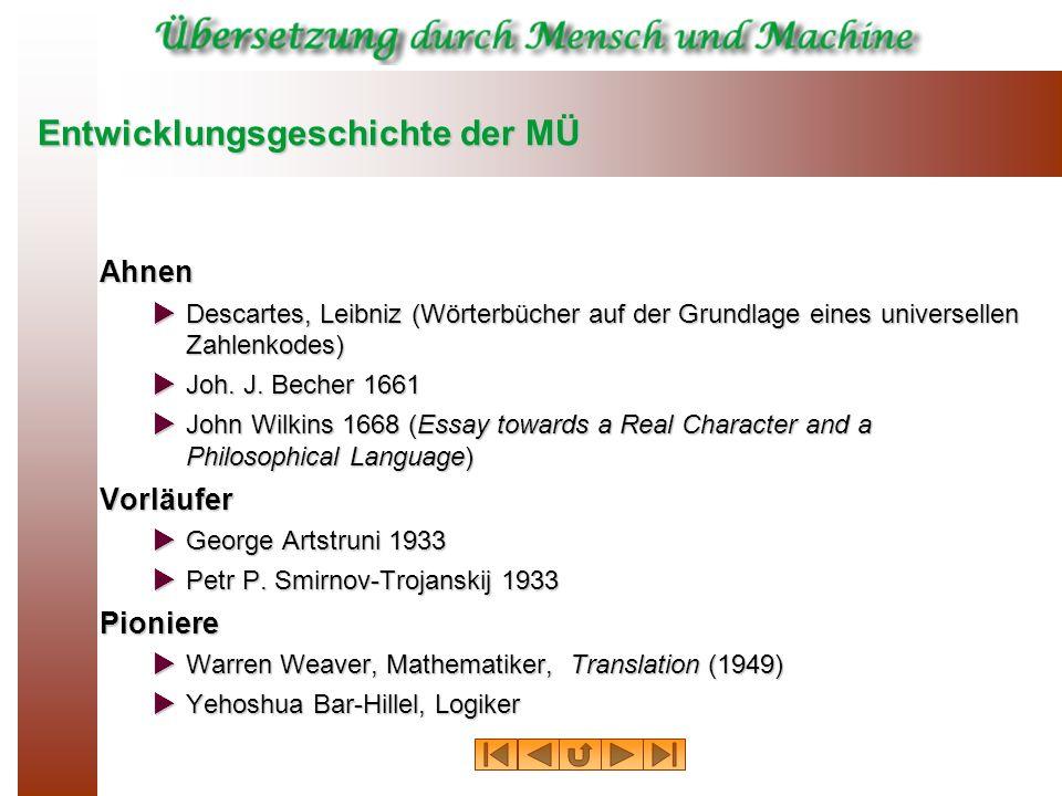 Entwicklungsgeschichte der MÜ Ahnen Descartes, Leibniz (Wörterbücher auf der Grundlage eines universellen Zahlenkodes) Descartes, Leibniz (Wörterbüche