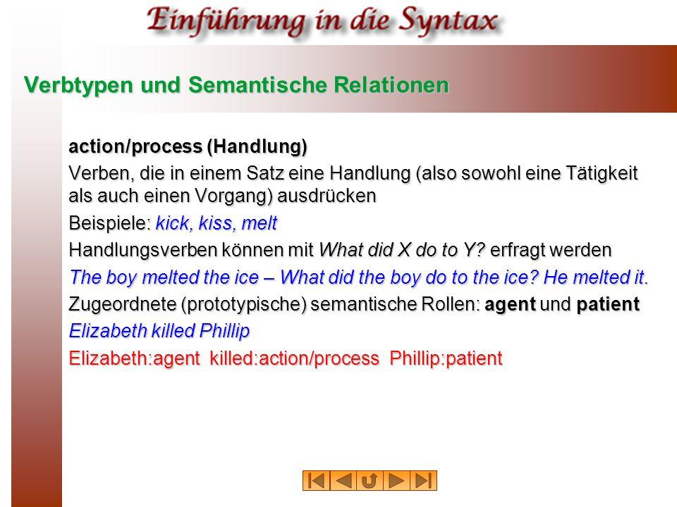 Verbtypen und Semantische Relationen action/process (Handlung) Verben, die in einem Satz eine Handlung (also sowohl eine Tätigkeit als auch einen Vorg