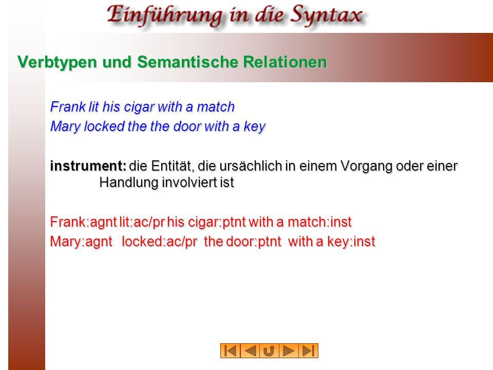 Verbtypen und Semantische Relationen Frank lit his cigar with a match Mary locked the the door with a key instrument: die Entität, die ursächlich in e