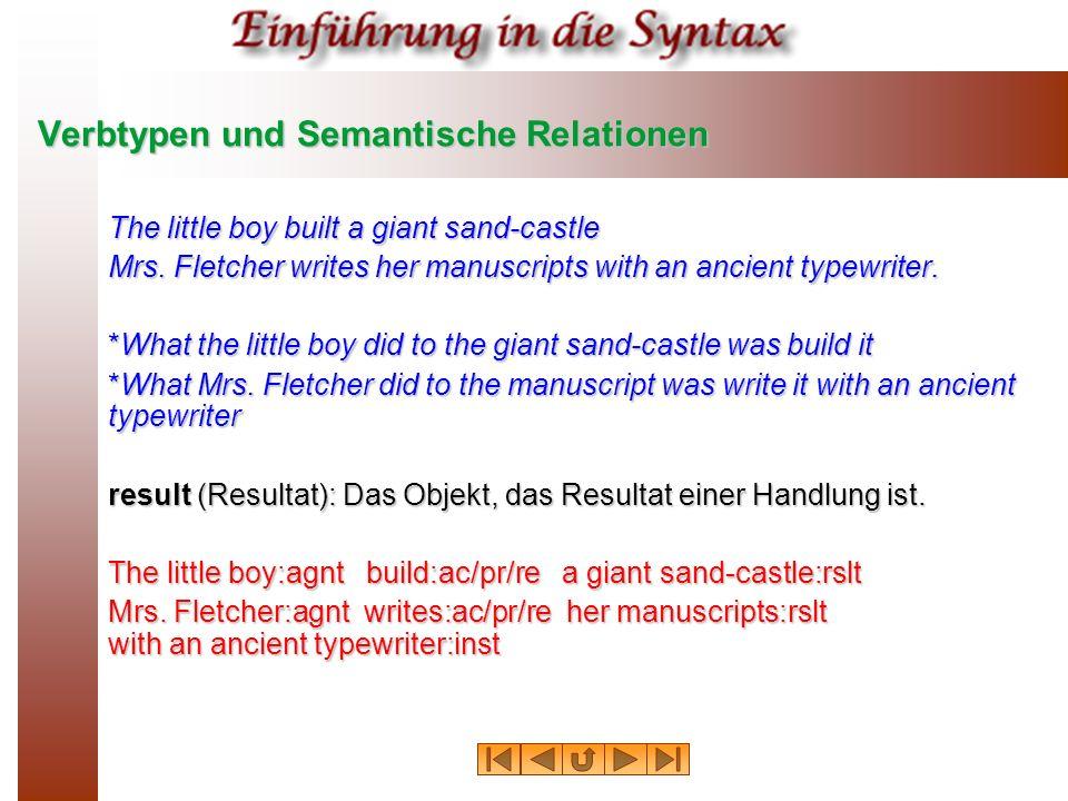 Verbtypen und Semantische Relationen The little boy built a giant sand-castle Mrs. Fletcher writes her manuscripts with an ancient typewriter. *What t