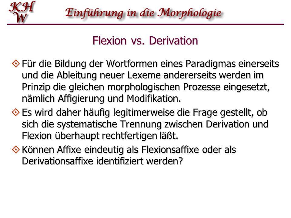 Flexion vs. Derivation Für die Bildung der Wortformen eines Paradigmas einerseits und die Ableitung neuer Lexeme andererseits werden im Prinzip die gl